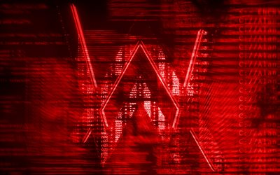 Alan Walker logo rosso, creativo, arte digitale, superstar, Alan Walker logo, star della musica, Alan Walker