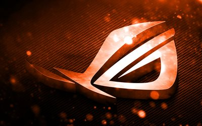RoG logo de orange, arte 3D, Republic of Gamers, naranja metal de fondo, RoG logo en 3D, ASUS, creativo, RoG