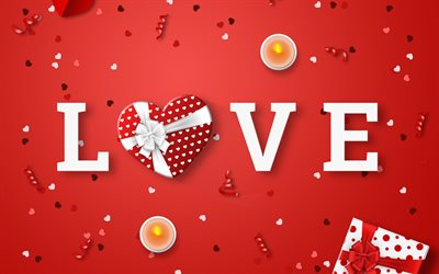 Love, red background, candles, love concepts, gift heart, red romantic background