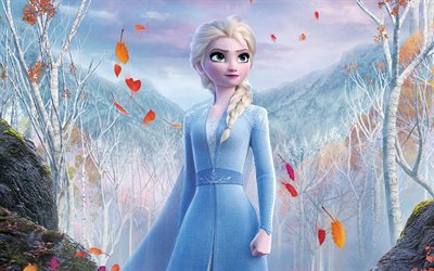 2019, Frozen 2, 4k, Queen Elsa, portrait, main character, promotional materials