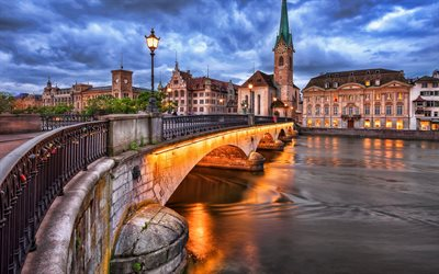 Zurich, Limmat River, swiss cities, church, Switzerland, Europe, HDR