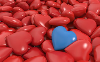 3d hearts, 4k, art, creative, heart pills, red hearts