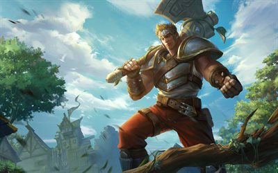 Warrior, 4k, 2018 games, Realm Royale, Hi-Rez Studios, warrior with axe, Realm Royale characters