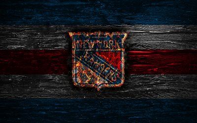 New York Rangers, fire logo, NHL, blue and red lines, american hockey team, grunge, hockey, logo, New York Rangers emblem, Eastern Conference, wooden texture, USA, NY Rangers