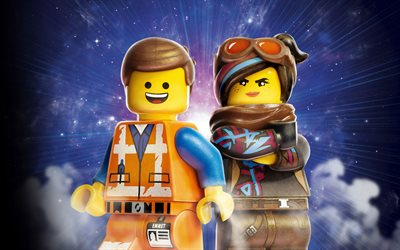 The Lego Movie 2, The Second Part, 2019, Emmet, Lucy Wyldstyle, 4k, poster, promotional materials, American cartoons, characters