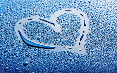 heart of drops, 4k, water drops, blue background, heart, love concept, painted heart on glass