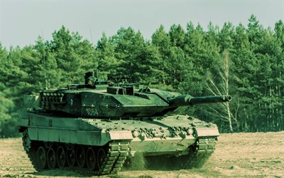 Leopard 2A7, battle tank, modern German armored vehicles, green camouflage, Bundeswehr, Germany