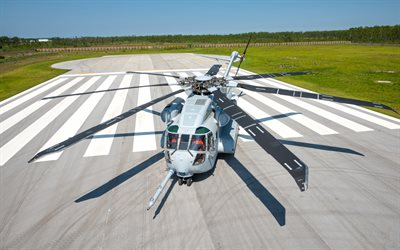 Sikorsky CH-53K King Stallion, American military transport helicopter, USAF, airport, military helicopters, USA