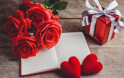 red roses, notepad, red hearts, gift, Valentines Day, February 14, buying gifts, romantic holiday