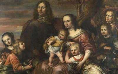 Married couple with six kids, painting, Jurgen Ovens