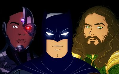 Batman, Aquaman, Black Panther, superheroes, art