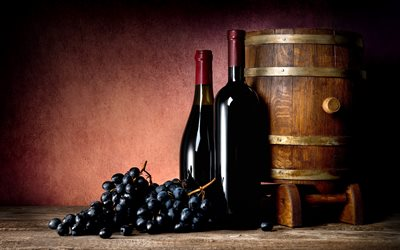 red wine, grapes, wine cellar, wooden barrel, 4k, wine concepts