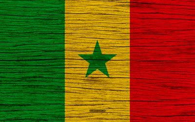 Download wallpapers Flag of Senegal 4k Africa wooden