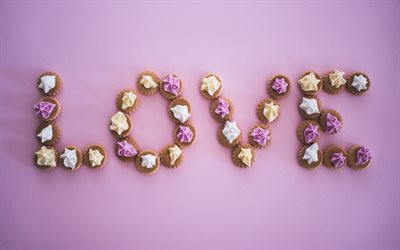 Love, cupcakes, sweets, desserts, cakes, pink background