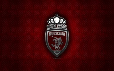 Mouscron FC, Belgian football club, red metal texture, metal logo, emblem, Mouscron, Belgium, Jupiler Pro League, Belgian First Division A, creative art, football, Royal Excel Mouscron