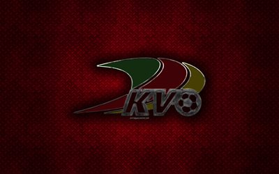 KV Oostende, Belgian football club, red metal texture, metal logo, emblem, Ostend, Belgium, Jupiler Pro League, Belgian First Division A, creative art, football
