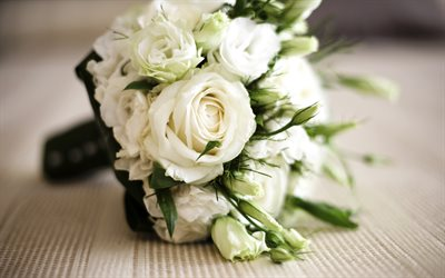 wedding bouquet, white roses, bridal bouquet, blur, bouquet of roses, white beautiful flowers, wedding concepts