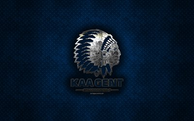 KAA Gent, Belgian football club, blue metal texture, metal logo, emblem, Ghent, Belgium, Jupiler Pro League, Belgian First Division A, creative art, football