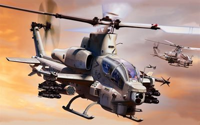 Bell AH-1Z Viper, US Navy, American attack helicopter, combat aircraft, USA, United States Navy, AH-1 Super Cobra
