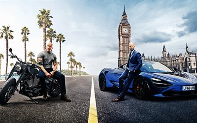 Fast and Furious, Hobbs and Shaw, 2019, 4k, poster, promotional materials, Fast and Furious 9, Jason Statham, Dwayne Johnson, main characters