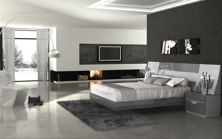 gray bedroom, loft style, modern interior design, white marble floor in the bedroom, stylish interior design