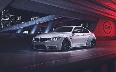 4k, BMW M4, low rider, tuning, F82, 2019 coches, atentos m4, supercars, blanco m4, 2019 BMW M4, los coches alemanes, blanco f82, BMW