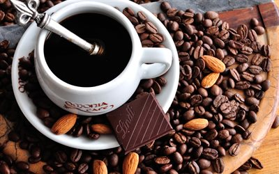 up of coffee, coffee beans, white cup with coffee, coffee concepts, chocolate