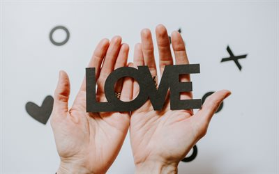word love in hands, word love made of paper, love concepts, hands, paper art