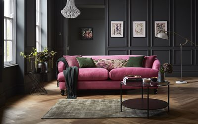 stylish interior design, living room, classic interior style, pink sofa, white chandelier