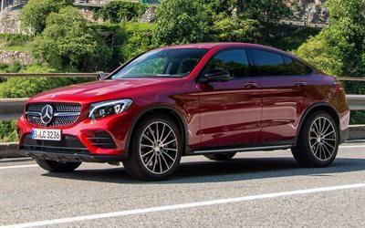 download wallpapers mercedes benz glc 350 d amg line coupe 2016 cars c253 german cars red. Black Bedroom Furniture Sets. Home Design Ideas