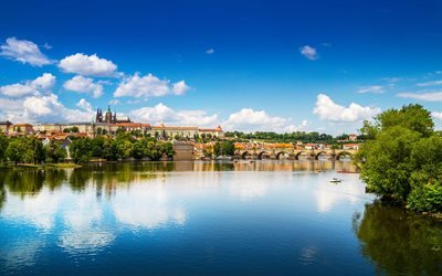 Prague, river, Vltava, panorama of Prague, summer, Czech Republic, old stone bridge