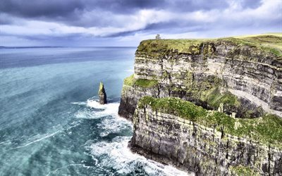 Rocks, ocean, waves, waterfall, Ireland, cliffs of Moher, Atlantic Ocean