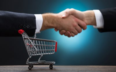 Business handshake, businessmen, making a deal, buying, business concepts, 4k, hands, shopping cart