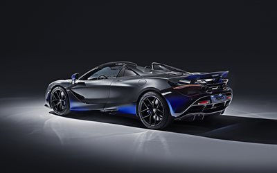 2019, McLaren 720S Spider, MSO, rear view, new black 720S, race car, convertible, British sports cars, roadster, McLaren