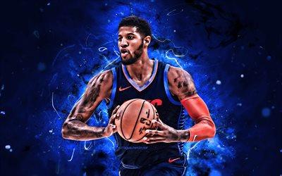 Download Wallpapers Paul George Blue Uniform Basketball