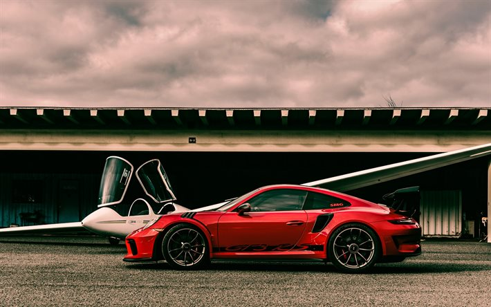 Download Wallpapers Porsche 911 Gt3 Rs 2020 Side View Exterior Red Sports Coupe Red 911 Gt3 Rs Tuning Race Car German Sports Cars Porsche For Desktop Free Pictures For Desktop Free