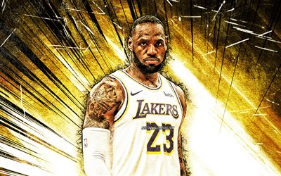 4k, LeBron James, grunge art, NBA, Los Angeles Lakers, yellow abstract rays, basketball stars, LeBron Raymone James Sr, white uniform, basketball, LA Lakers, creative, LeBron James Lakers, LeBron James 4K