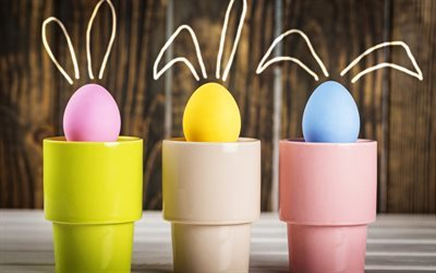 Easter, easter eggs, egg cups, spring