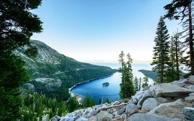 Lake Tahoe, Mountain lake, vuoret, metsä, USA, California