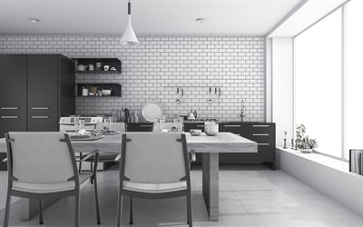 white and black kitchen, modern design, stylish modern kitchen design, white brick wall, gray wooden table