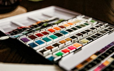 watercolor paints, drawing, paints of different colors, palette concepts, choice of color concepts, painting with paints