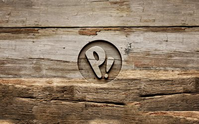 Pop OS wooden logo, 4K, Linux, wooden backgrounds, OS, Pop OS logo, creative, wood carving, Pop OS