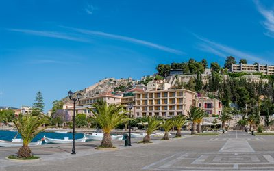 Nafplion, Acronauplia, Greece, coast, palm trees, resorts of Greece, summer travel, travel to Greece