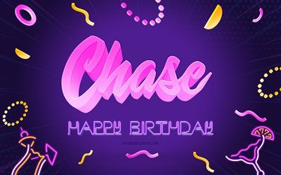 Happy Birthday Chase, 4k, Purple Party Background, Chase, creative art, Happy Chase birthday, Chase name, Chase Birthday, Birthday Party Background