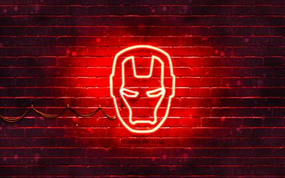 Iron Man red logo, 4k, red brickwall, IronMan logo, Iron Man, superheroes, IronMan neon logo, Iron Man logo, IronMan