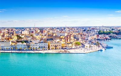 4k, Brindisi, summer, skyline cityscapes, italian cities, embankment, Italy, Europe, cityscapes, cities of Italy, Brindisi Italy