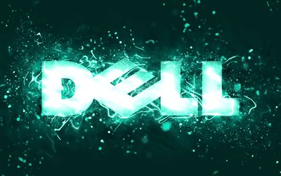Dell turquoise logo, 4k, turquoise neon lights, creative, turquoise abstract background, Dell logo, brands, Dell