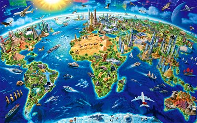 3D world map, 4k, creative, world landmarks, sightseeing map, artwork, map of world landmarks, World Map concept, background with world map