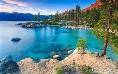 Sierra Nevada, 4k, blue lake, sunset, forest, american landmarks, USA, America, mountains, beautiful nature