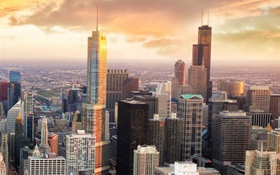 Chicago, soir, coucher de soleil, gratte-ciel, Willis Tower, Chicago cityscape, Chicago Skyline, Trump International Hotel and Tower, Illinois, Etats-Unis